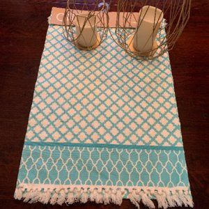 100% cotton turquoise table runner